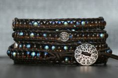 wrap bracelet czech glass beads and silver accents by CorvusDesign