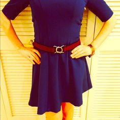 "Navy & Red Fabric Belt Stretches to fit any size. Twist clasp to buckle. Measures 33"" in length. H&M Accessories Belts"