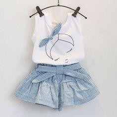 2 unids / 1-7 años del estilo / del verano ropa de bebé niñas establece historieta linda 100% de algodón sin mangas T-shirt + Shorts Band Kids ropa BC1152(China (Mainland))