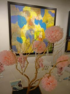 inexpensive diy yellow n gray wedding table arrangements | Pink Manzanita Branch Centerpieces DIY | Weddingbee DIY Projects