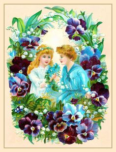 Victorian girls and pansies