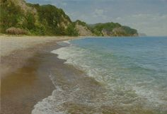 Aydemir, Saidov (b,1979)- Sandy Beach w Rocky End -2b {Duplicate Variation Below- this has more natural colors, more definition}