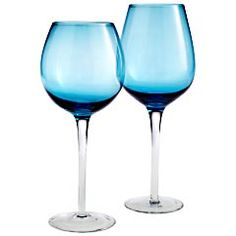 Pier 1 Imports > Special Values > Product Details - Turquoise with Clear Stem Stemware Blue Wine Glasses, Unique Wine Glasses, Champagne Glasses, Buy My House, Dining Services, Party Entertainment, Turquoise, Aqua, Teal