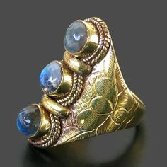 Nepalese Handmade Brass Natural Moonstone Lucky Totem Ring from Nepal | eBay