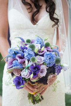 Pretty blue and purple #wedding #bouquet - I like everything but the lilies