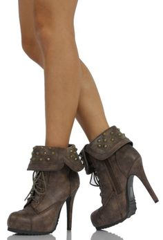 Taupe Faux Leather Combat Lace Up Studded Cuff Ankle High Heel Bootie Swamp