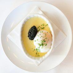 oeuf à 63°, caviar et crème de parmesan