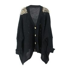 Black Loose Rivets Cardigan ❤ liked on Polyvore featuring tops, cardigans, jackets, outerwear, sweaters, cut loose tops, loose fitting tops, cardigan top, loose cardigan and loose fit tops