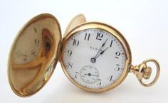 Antique 14K Solid Gold Lady ELGIN Pocket Watch 7 by utamaro, $750.00