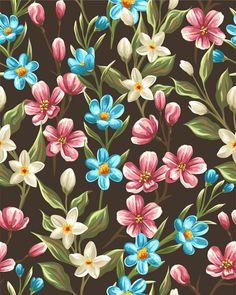 Beautiful flower seamless patterns retro vector set 10