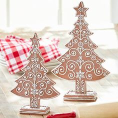 Fanciful Christmas trees for your holiday table or mantel. Set of tallest tree measures 12 H. Made of stone powder to look like gingerbread. Gingerbread Christmas Decor, Gingerbread Decorations, Christmas Decorations, Holiday Decor, Tree Decorations, Gingerbread Houses, Christmas Balls, Christmas Candy, Christmas Holidays