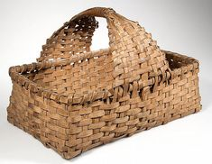 Antique, Hand Woven Splint Gathering Basket from Gastonia region of North Carolina ...