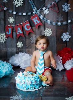 Winter Jack Frost Cake Smash Fun!  Winter Onederland #CakeSmash #Cake #Messy…