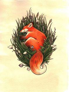 Fox in the Brush Art Print