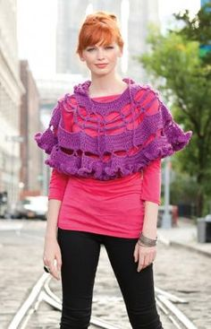 Best Free Crochet » Free Petticoat Poncho Crochet Pattern From RedHeart.com #204