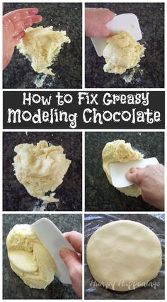 How to fix greasy modeling chocolate. Follow the step-by-step tutorial to make your oily modeling chocolate smooth and workable.