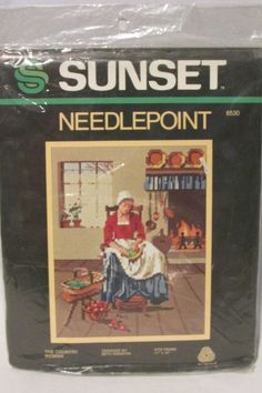 """Sunset The Country Woman Needlepoint KIT 6530 Vintage 11"""" x 14"""" Retired New #SunsetDesigns"""