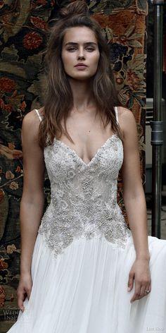 lihi hod bridal 2016 romantic tuscany wedding dress sleeveless embellished lace bodice spaghetti straps zoom