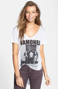 "Electric Circus Ramones V-Neck Tee (Juniors) available at #Nordstrom $34.00 Item #817088    Salute the founding fathers of American punk with a flouncy V-neck tee finished with an exaggerated high-low hemline.      27"" front length; 30"" back length (size Medium).     100% rayon.     Machine wash cold, tumble dry low.     By Electric Circus; made in the USA.     BP."