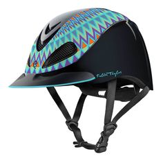 Troxel Fallon Taylor Aztec Helmet will give the rider a festive look. With the Aztec design created by Fallon Taylor, World Champion Barrel Racer, the rider will be comfortable in the western arena, or on a casual ride. New Self Locking Buckle G Horse Riding Helmets, Horse Riding Clothes, Riding Hats, Rodeo Clothes, Riding Gear, Horse Gear, Horse Tack, Dressage Horses, Breyer Horses