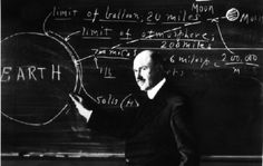 Goddard at the blackboard, lecturing on travel to  the moon. Robert Hutchings Goddard (1882-1945) was  an American professor, physicist and inventor who is credited  with creating and building the world's first liquid-fueled rocket