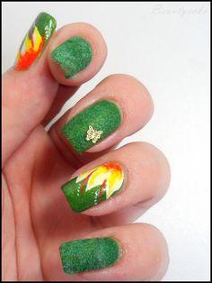 spring nailart, velvet nails
