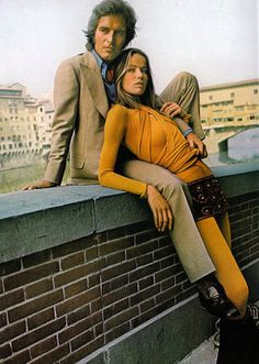 David Bailey with girl model photographed by Patrick Litchfield for Vogue UK, 1971.
