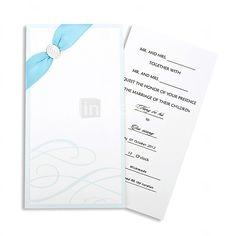 Graceful Blue Folded Wedding Invitation With Ribbon-Set of 50/20 - USD $ 22.99