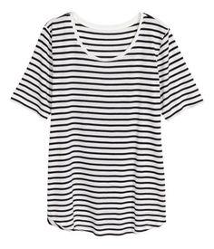 Jerseyshirt | Weiß/Schwarz gestreift | Damen | H&M AT