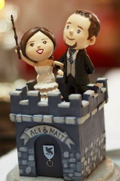 Instead of I Do they said  Always   if I can add any harry potter     Cute cake topper  The Hogwarts castle is too nerdy for Jeff  but I love the  style  A great blend of cute  classy  and nerdy