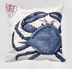 Pillow Cover Cotton and Burlap Pillow The Blue Crab by JolieMarche