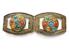 Art Deco Multi Colored Hand Cut Rhinestones Sash Ornament Belt Buckle Gilt Brass in Jewelry & Watches, Vintage & Antique Jewelry, Costume, Art Nouveau/Art Deco 1895-1935, Other Art Deco Costume Jewelry | eBay