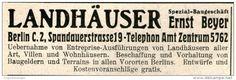Original-Werbung/Anzeige 1914 - LANDHÄUSER / BEYER BERLIN -  ca. 90 x 30 mm