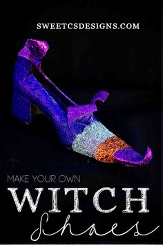 make your own witch shoes using old pumps and tape!