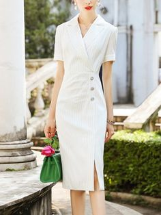 fc964842534 White Notch Lapel Pin-striped Wrap Midi Dress Professional Wear