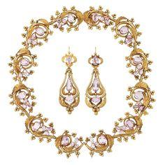 Lote 264 - oro antiguo y rosa collar de Topacio y Par de Pendientes Colgante-