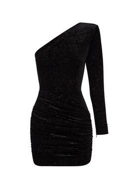 Alex Perry Dallon Glittered Velvet One-Shoulder Mini Dress Source by modaoperandi dress night Black Dress Outfits, Stage Outfits, Kpop Outfits, Night Outfits, Classy Outfits, Cute Outfits, Event Dresses, Casual Dresses, Short Dresses