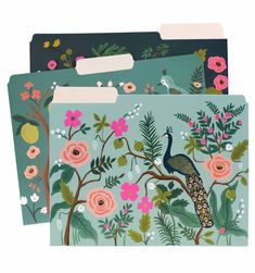 All the encouragement needed to get–and stay—organized, our Shanghai Garden file folder set features birds and flowers with gold foil accents.