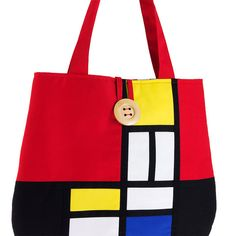 Shoulder bag with Mondrian pattern by TeresaNogueira on Etsy, €50.00