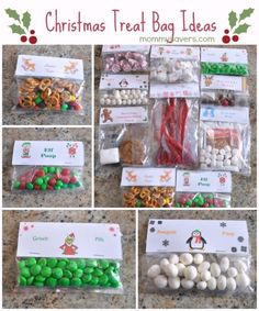 Christmas Treat Bag Ideas: Ten Creative Examples - These would be great to send to your kiddo's classroom, with the teacher's permission of course! Christmas Treat Bags, Christmas Goodies, Christmas Candy, Homemade Christmas, Diy Christmas Gifts, Christmas Projects, Winter Christmas, Christmas Time, Christmas Decorations