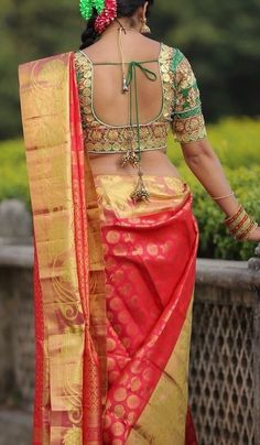 kanchivaram saree with embroidered blouse