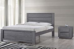 Handmade Rustic Solid Wooden Grey Silver Modern Bed Frame Double King Size