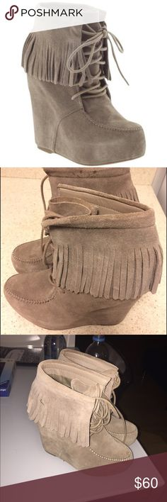 Steve Madden fringe armory brown boots Really good for winter. High wedged boots with fringe. Only worn once. Mint condition. Steve Madden Shoes Ankle Boots & Booties