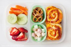 Pizza buns, baked then frozen in lunchbox servings, ready to grab-n-go! Good container too!