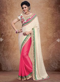 Outstanding craftmanship of embellishments exhibited in this cream and hot pink satin and georgette designer saree. The interesting embroidered, lace and resham work all through the attire is awe insp...