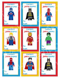 INSTANT DOWNLOAD!---within minutes after your purchase, youll see a link to the downloads page where you can download your file(s). Simply print out at home or upload to your favorite printing company. Adorable 1 piece set of Lego Superhero Valentines Cards. Each card measures 2.5 x 3.5 inches. (9 cards per sheet) You will receive one 8.5x11 inch, high resolution (300dpi), digital PDF files. ********************************************************************* This listing is for printa...