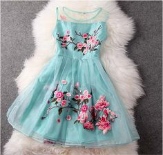 Flower Embroidery Mesh Tank Top Spring Skater Dress AX100101ax