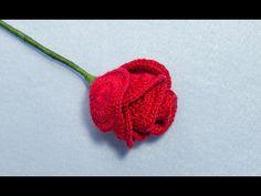 How to Crochet A Long Stem Rose - YouTube