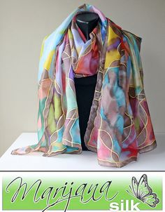 Mix colors Art.359 painted silk scarf Unique silk by MarijanaSilk