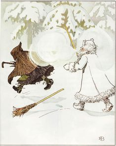 Jack Frost chases away Mrs. Thaw from Ollie's Ski Trip, by Elsa Beskow Winter Illustration, Children's Book Illustration, Illustrations, Elsa Beskow, Vintage Book Art, Dragon Dreaming, Artists For Kids, Vintage Christmas Cards, Jack Frost